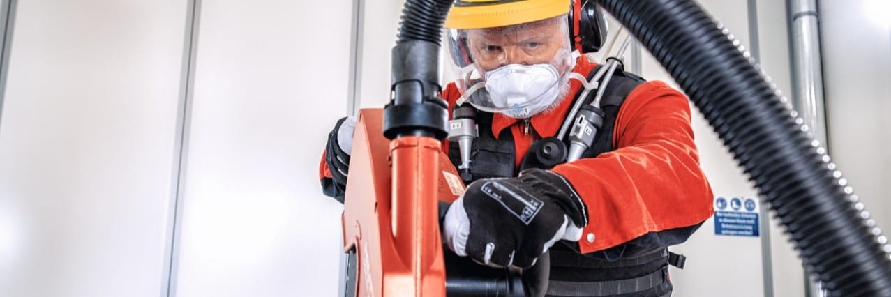 Hilti Dust Expert testing cutting tools at the Dust Research Center in Germany